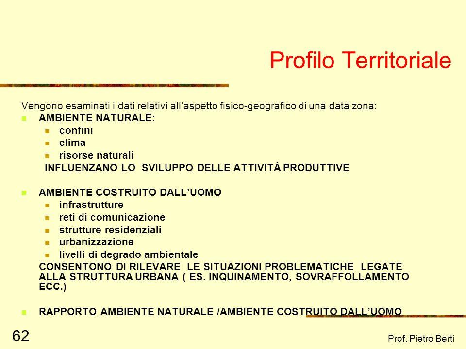 Prof. Pietro Berti 61 Profilo territoriale Profilo demografico Profilo economico Profilo dei servizi Profilo istituzionale Profilo psicosociale Profil