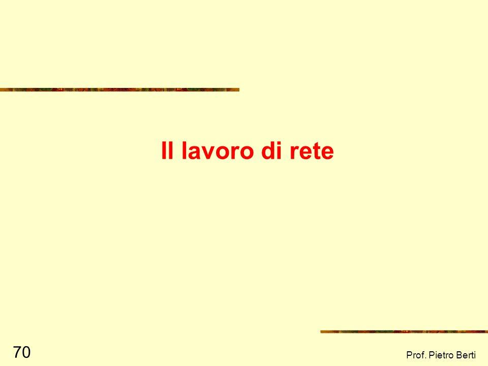 Prof. Pietro Berti 69 Profilo del futuro Rappresenta il modo in cui una comunità si immagina il futuro, in relazione a tutti gli altri profili ad esem