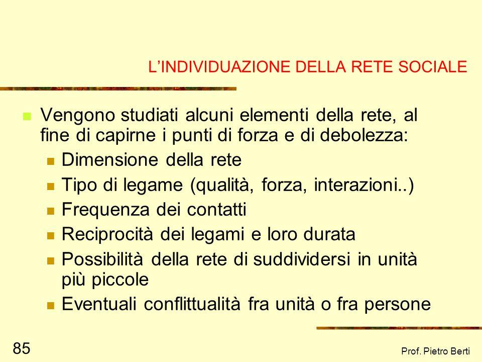 Prof. Pietro Berti 84 EGO Famiglia/parentela Amici Vicini di casa Colleghi di lavoro o di scuola Operatori sociali professionali 4. UNISCI I NOMI DELL