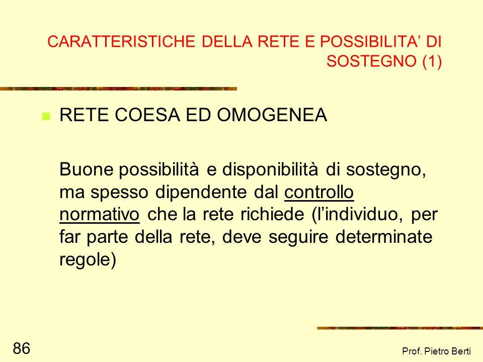 Prof. Pietro Berti 85 LINDIVIDUAZIONE DELLA RETE SOCIALE Vengono studiati alcuni elementi della rete, al fine di capirne i punti di forza e di debolez