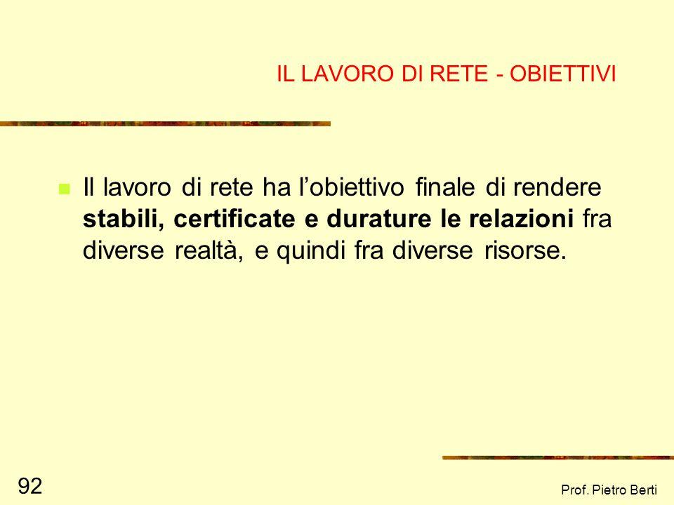 Prof. Pietro Berti 91 UN ESEMPIO DI RETE DISPERSA