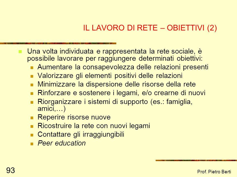 Prof. Pietro Berti 92 IL LAVORO DI RETE - OBIETTIVI Il lavoro di rete ha lobiettivo finale di rendere stabili, certificate e durature le relazioni fra