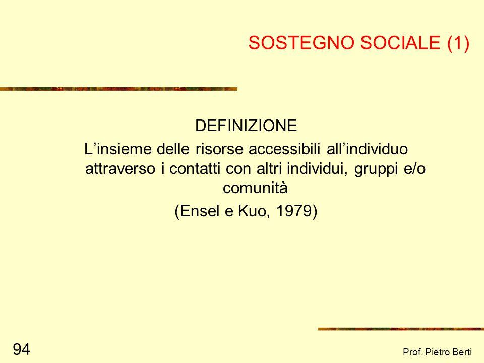 Prof. Pietro Berti 93 IL LAVORO DI RETE – OBIETTIVI (2) Una volta individuata e rappresentata la rete sociale, è possibile lavorare per raggiungere de