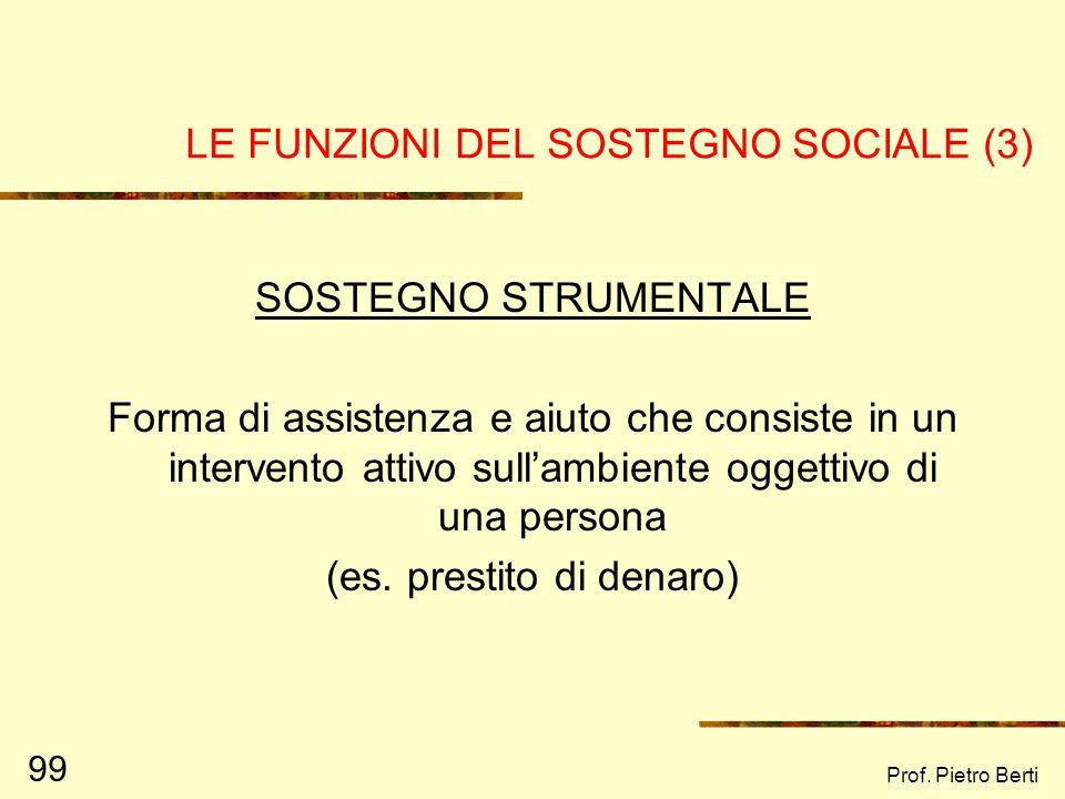 Prof. Pietro Berti 98 LE FUNZIONI DEL SOSTEGNO SOCIALE (2) SOSTEGNO EMOTIVO È la manifestazione daffetto, interesse e amore per laltra persona. Tale s