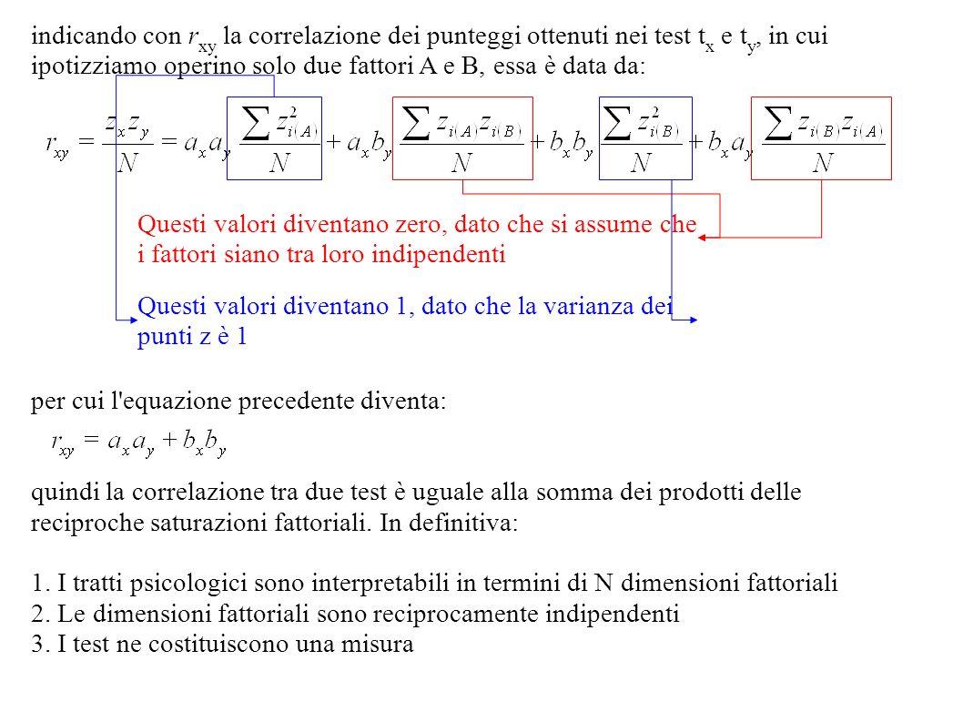 indicando con r xy la correlazione dei punteggi ottenuti nei test t x e t y, in cui ipotizziamo operino solo due fattori A e B, essa è data da: per cu