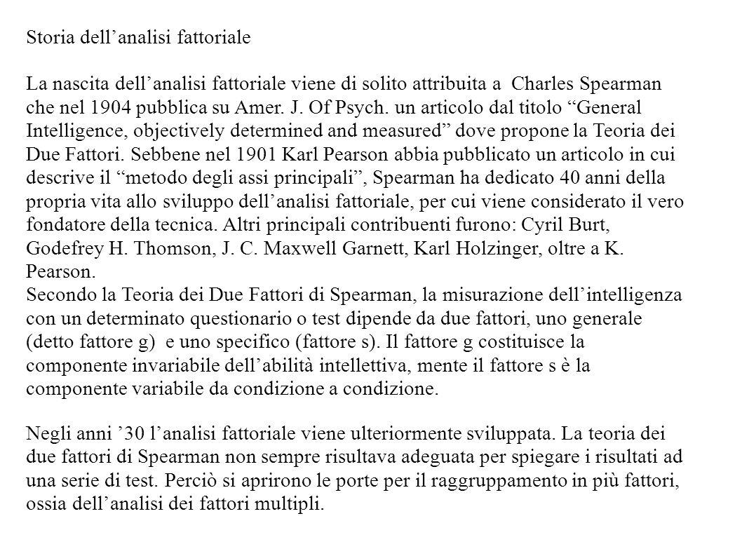 Storia dellanalisi fattoriale La nascita dellanalisi fattoriale viene di solito attribuita a Charles Spearman che nel 1904 pubblica su Amer. J. Of Psy