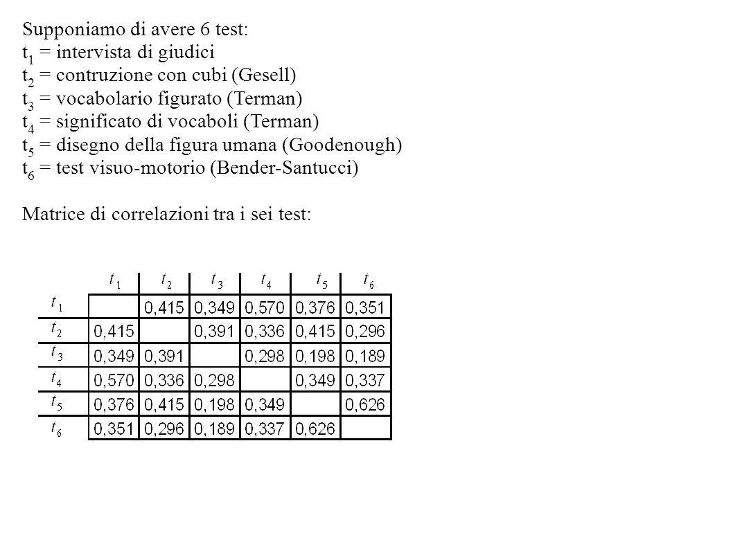 Supponiamo di avere 6 test: t 1 = intervista di giudici t 2 = contruzione con cubi (Gesell) t 3 = vocabolario figurato (Terman) t 4 = significato di v