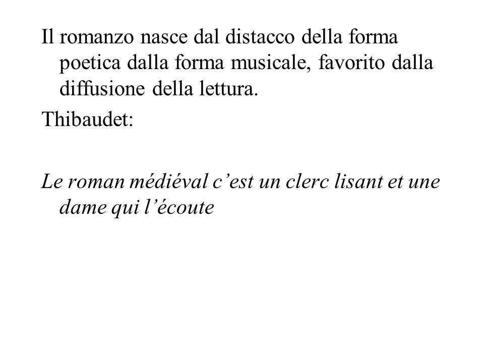 Il romanzo nasce dal distacco della forma poetica dalla forma musicale, favorito dalla diffusione della lettura. Thibaudet: Le roman médiéval cest un