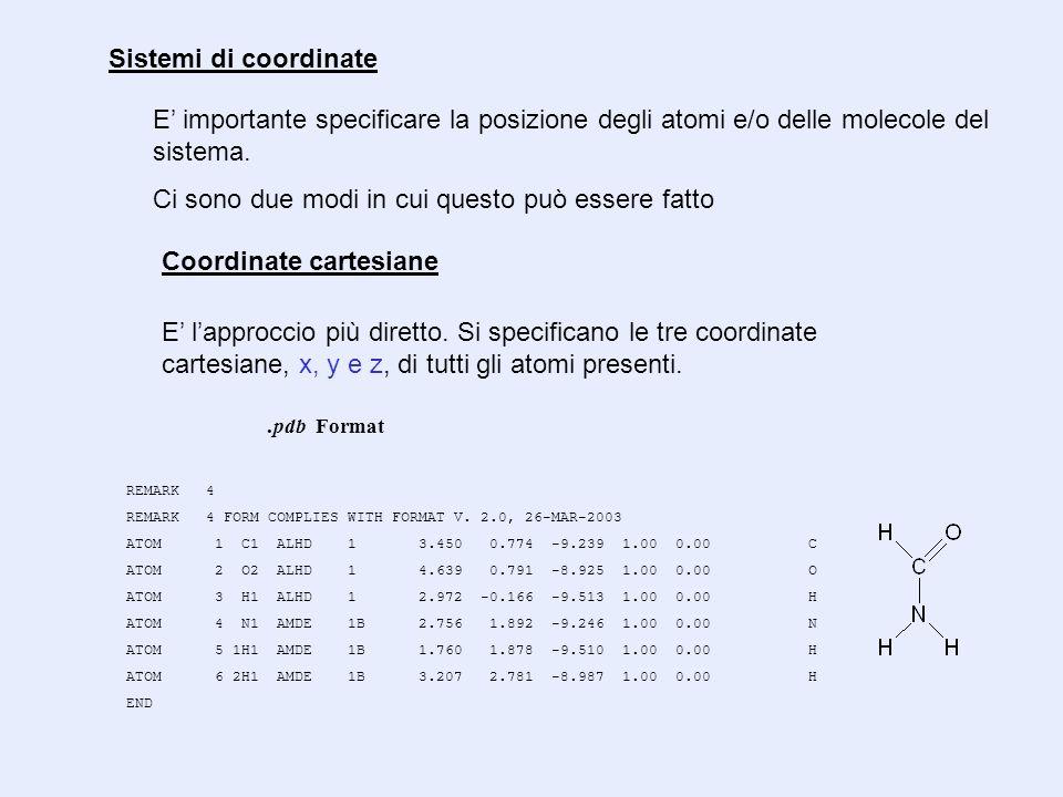 Coordinate cartesiane E importante specificare la posizione degli atomi e/o delle molecole del sistema. Ci sono due modi in cui questo può essere fatt
