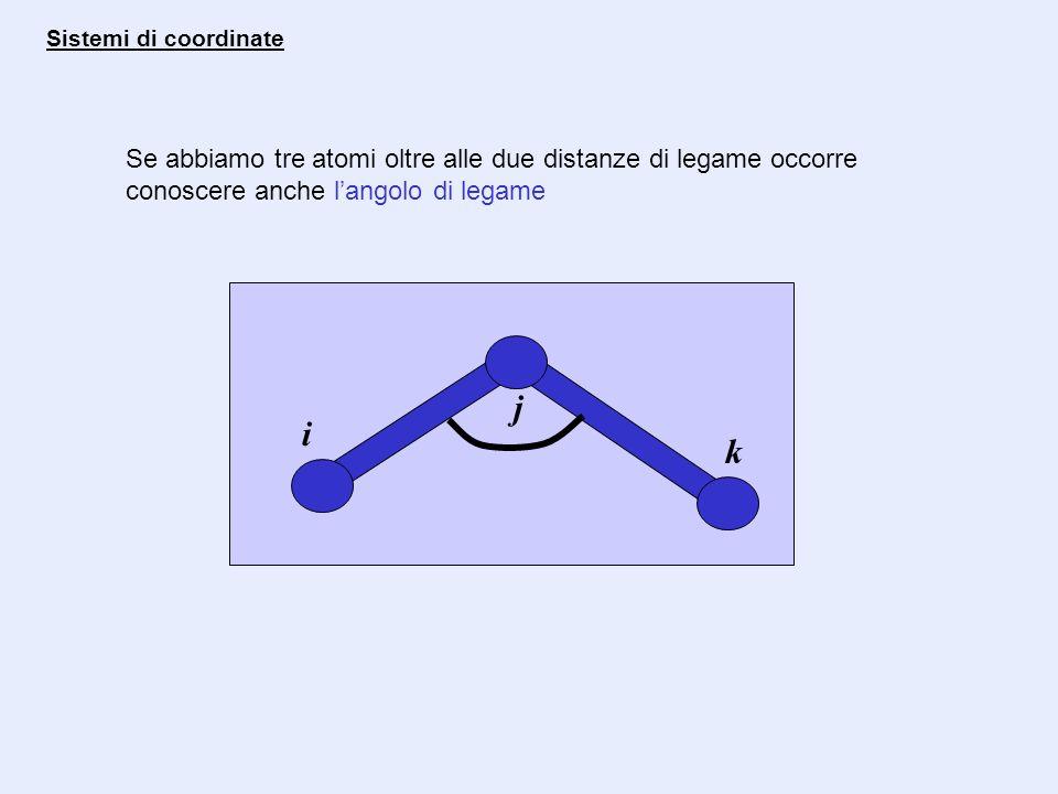Se abbiamo tre atomi oltre alle due distanze di legame occorre conoscere anche langolo di legame i j k Sistemi di coordinate