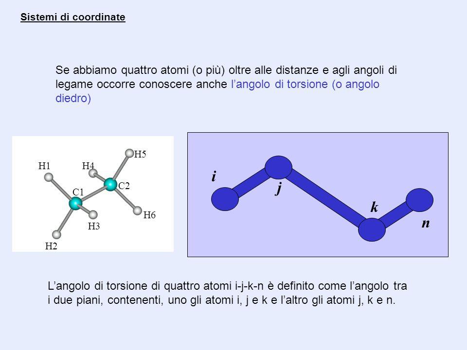 Se abbiamo quattro atomi (o più) oltre alle distanze e agli angoli di legame occorre conoscere anche langolo di torsione (o angolo diedro) Sistemi di