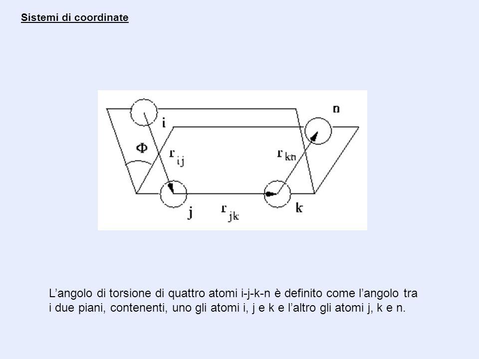 Sistemi di coordinate Langolo di torsione di quattro atomi i-j-k-n è definito come langolo tra i due piani, contenenti, uno gli atomi i, j e k e laltr