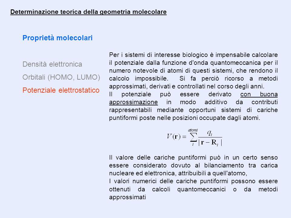 Proprietà molecolari Densità elettronica Orbitali (HOMO, LUMO) Potenziale elettrostatico Determinazione teorica della geometria molecolare Per i siste