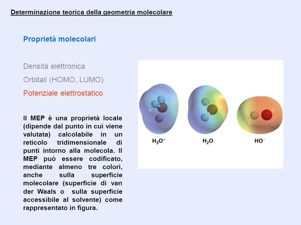 Proprietà molecolari Densità elettronica Orbitali (HOMO, LUMO) Potenziale elettrostatico Determinazione teorica della geometria molecolare Il MEP è un