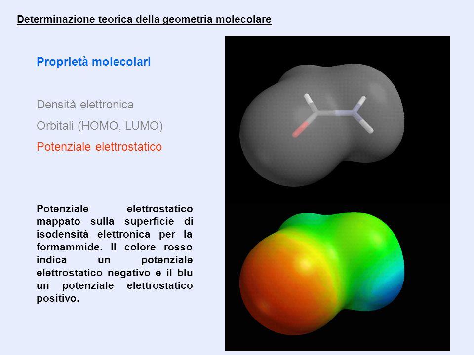 Proprietà molecolari Densità elettronica Orbitali (HOMO, LUMO) Potenziale elettrostatico Determinazione teorica della geometria molecolare Potenziale