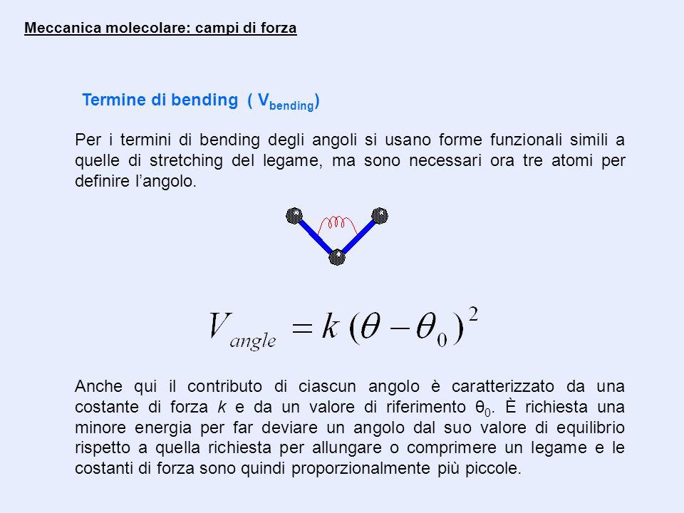 Meccanica molecolare: campi di forza Termine di bending ( V bending ) Per i termini di bending degli angoli si usano forme funzionali simili a quelle