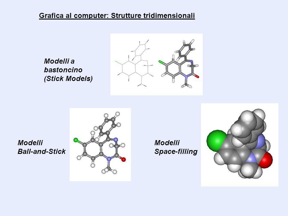 Grafica al computer: Strutture tridimensionali Modelli a bastoncino (Stick Models) Modelli Ball-and-Stick Modelli Space-filling