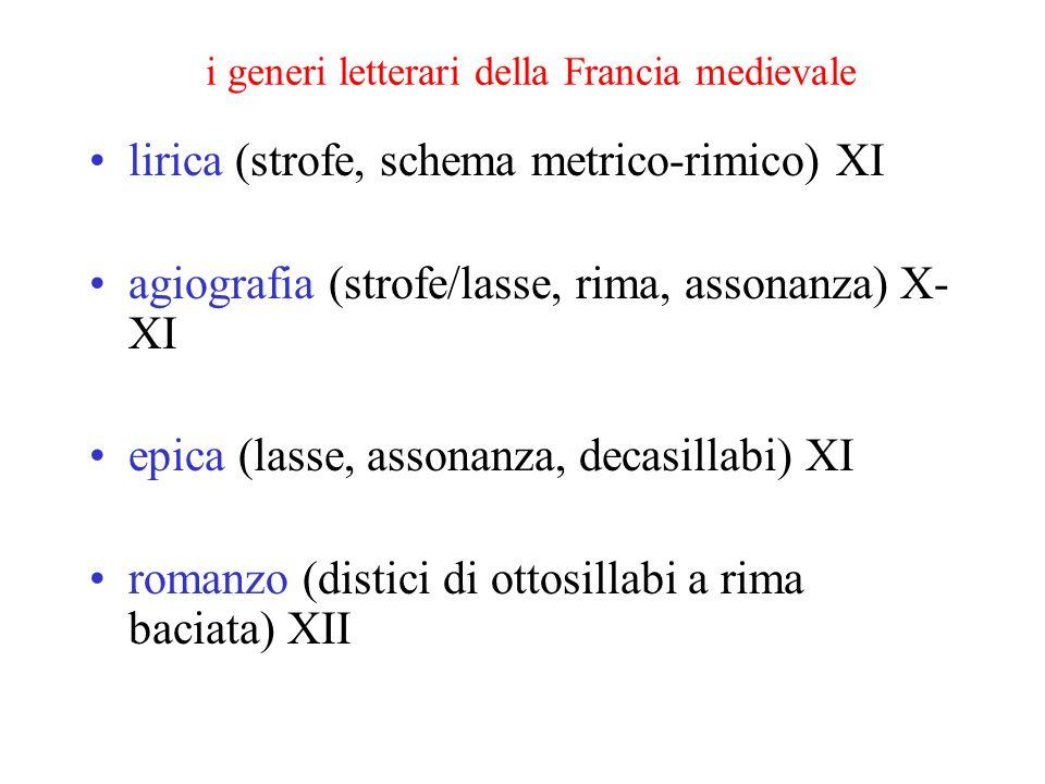 i generi letterari della Francia medievale lirica (strofe, schema metrico-rimico) XI agiografia (strofe/lasse, rima, assonanza) X- XI epica (lasse, as