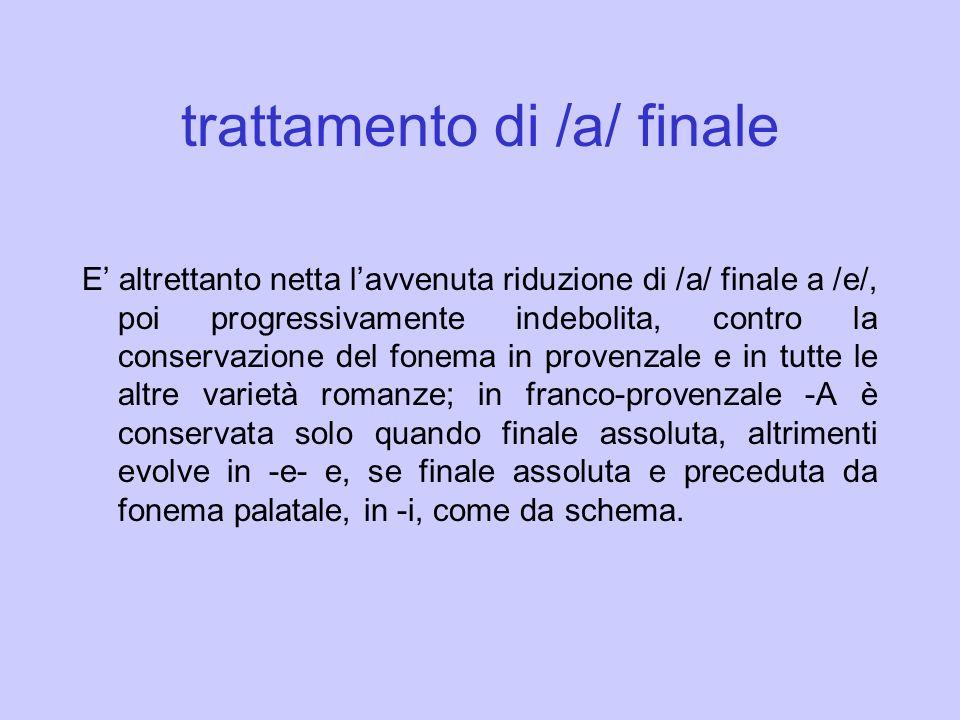 trattamento di /a/ finale E altrettanto netta lavvenuta riduzione di /a/ finale a /e/, poi progressivamente indebolita, contro la conservazione del fo