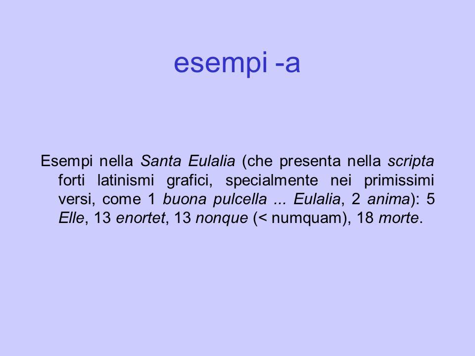 esempi -a Esempi nella Santa Eulalia (che presenta nella scripta forti latinismi grafici, specialmente nei primissimi versi, come 1 buona pulcella...