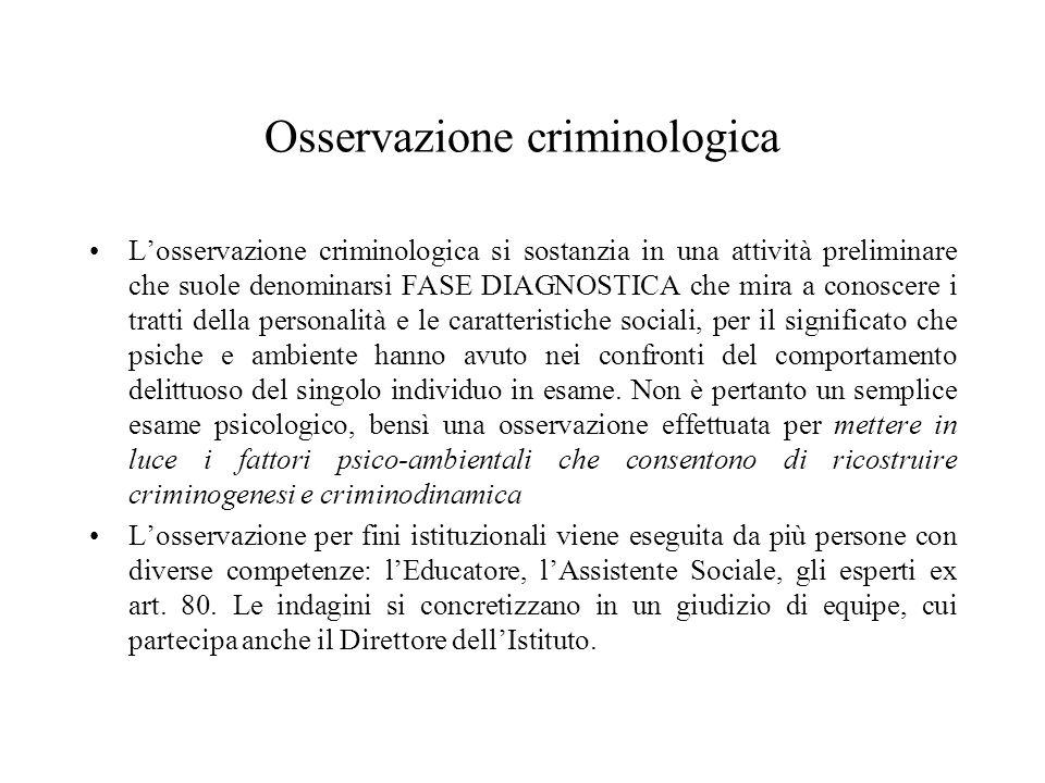 Osservazione criminologica Losservazione criminologica si sostanzia in una attività preliminare che suole denominarsi FASE DIAGNOSTICA che mira a cono
