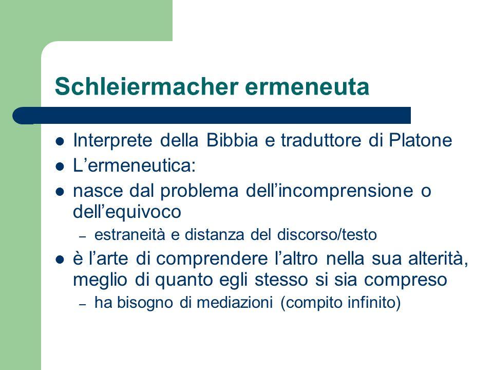 Schleiermacher ermeneuta Interprete della Bibbia e traduttore di Platone Lermeneutica: nasce dal problema dellincomprensione o dellequivoco – estranei