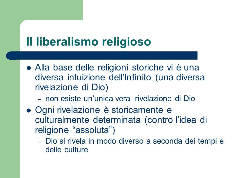 Il liberalismo religioso Alla base delle religioni storiche vi è una diversa intuizione dellInfinito (una diversa rivelazione di Dio) – non esiste unu