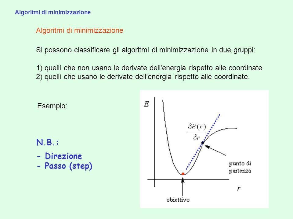 Algoritmi di minimizzazione Esempio: N.B.: - Direzione - Passo (step) Si possono classificare gli algoritmi di minimizzazione in due gruppi: 1) quelli