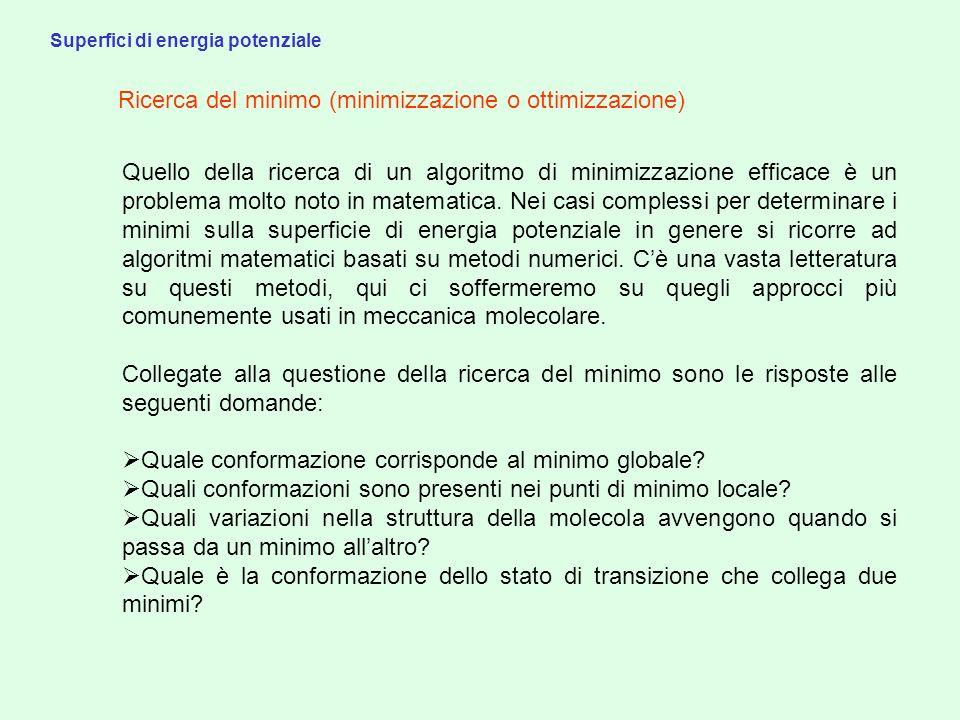 Superfici di energia potenziale Punti stazionari Sia i punti di minimo che i punti di sella sono punti stazionari.