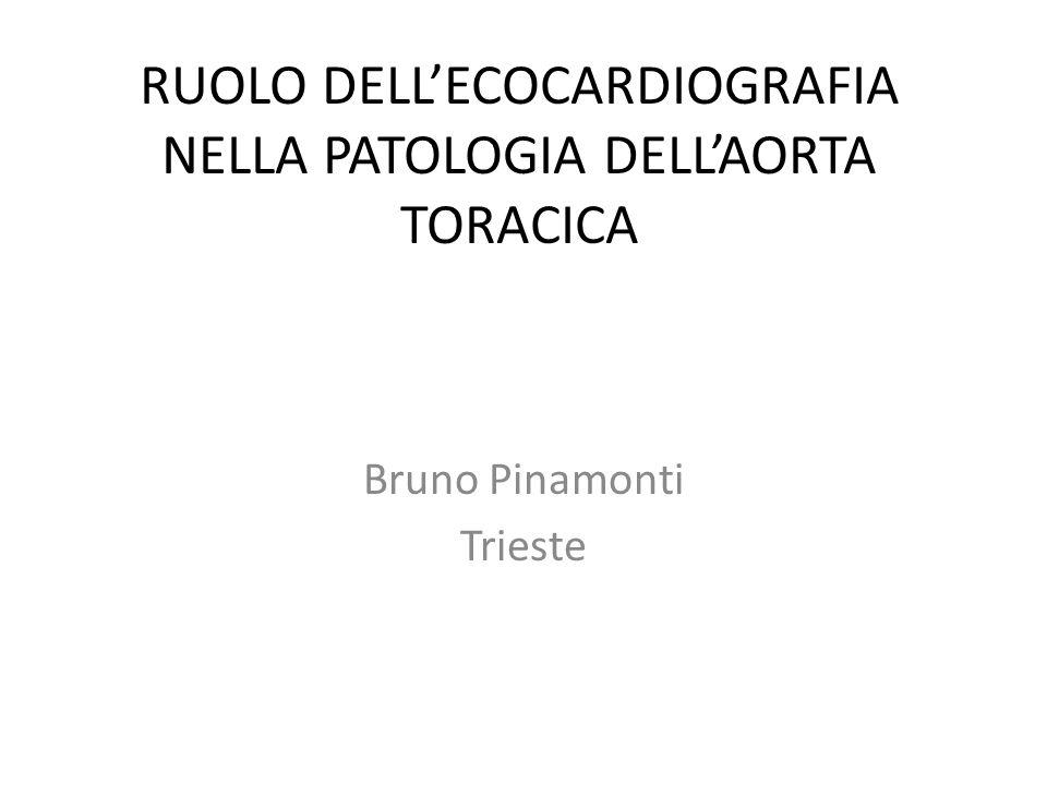 ECOCARDIOGRAFIA NELLA PATOLOGIA DELLAORTA TORACICA: METODOLOGIA DI STUDIO ED APPROCCI PRINCIPALI NELLO STUDIO DELLAORTA MISURAZIONI STANDARD E VALORI DI NORMALITA RUOLO DELLECO NELLA SINDROME AORTICA ACUTA RUOLO DELLECO NEL FOLLOW-UP DELLA DILATAZIONE ED ANEURISMA AORTICO