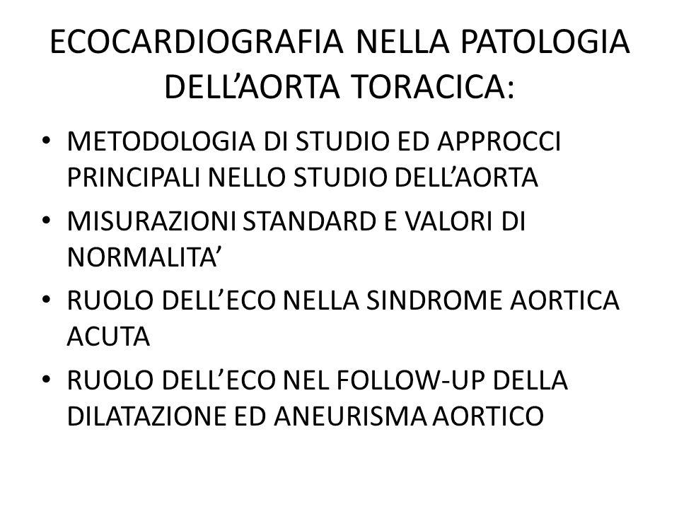 ECOCARDIOGRAFIA E PATOLOGIA DELLAORTA TORACICA - CONCLUSIONI (I) Unaccurata e sistematica valutazione dellaorta è componente essenziale dellesame ecocardiografico La valutazione ecocardiografica dellaorta richiede approcci multipli ed ev.