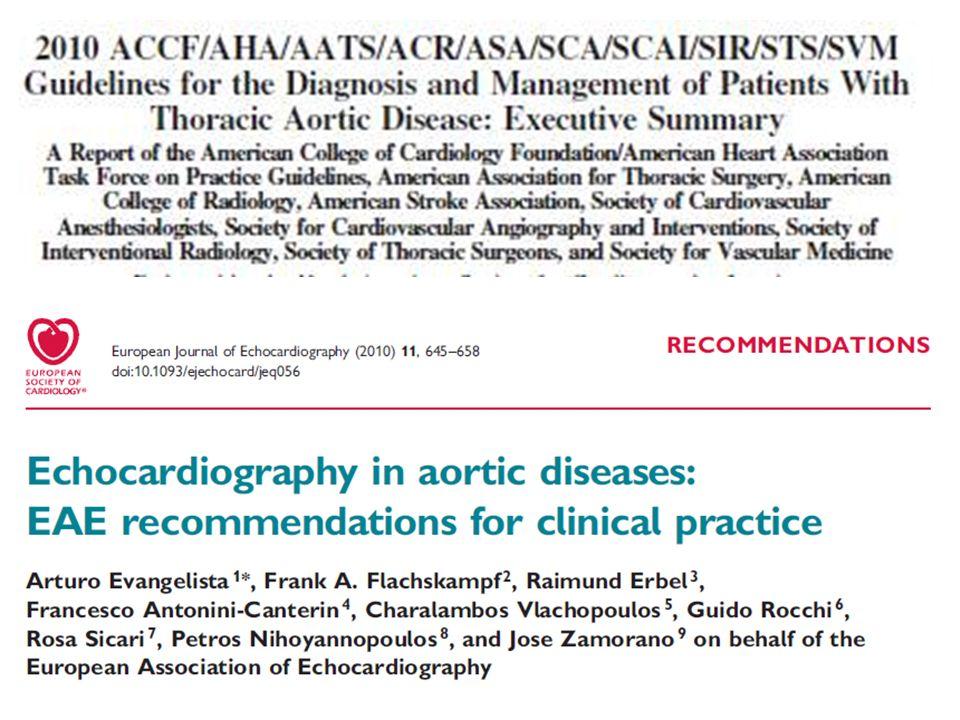 ECOCARDIOGRAFIA E PATOLOGIA DELLAORTA TORACICA - CONCLUSIONI (II) Nel paziente con sindrome aortica acuta le caratteristiche eco TT/TE permettono una definizione diagnostica accurata nella maggioranza dei casi Nella dissezione aortica la diagnosi eco richiede la dimostrazione della presenza di flap intimale.