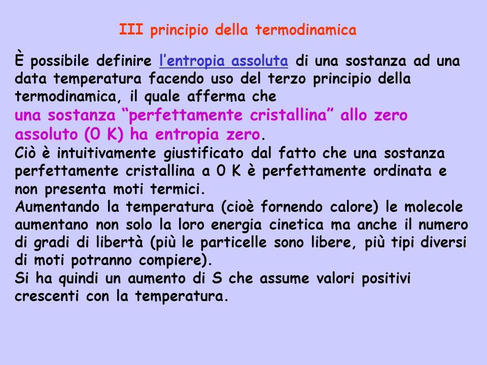 È possibile definire lentropia assoluta di una sostanza ad una data temperatura facendo uso del terzo principio della termodinamica, il quale afferma