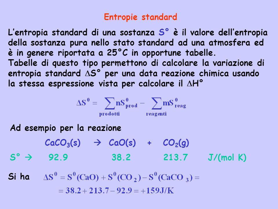Lentropia standard di una sostanza S° è il valore dellentropia della sostanza pura nello stato standard ad una atmosfera ed è in genere riportata a 25