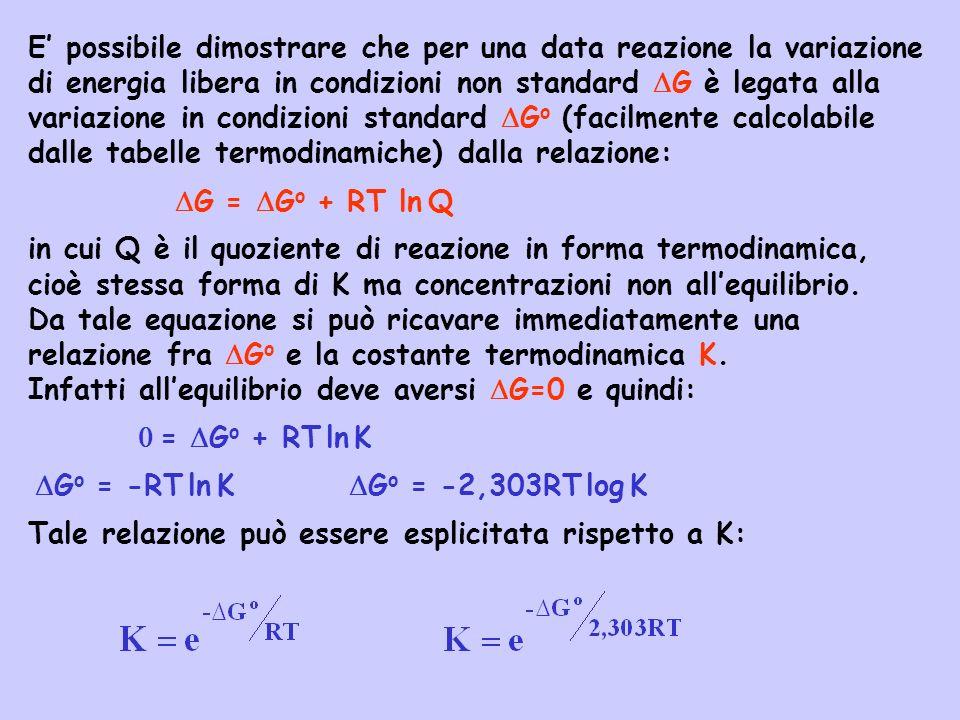E possibile dimostrare che per una data reazione la variazione di energia libera in condizioni non standard G è legata alla variazione in condizioni s