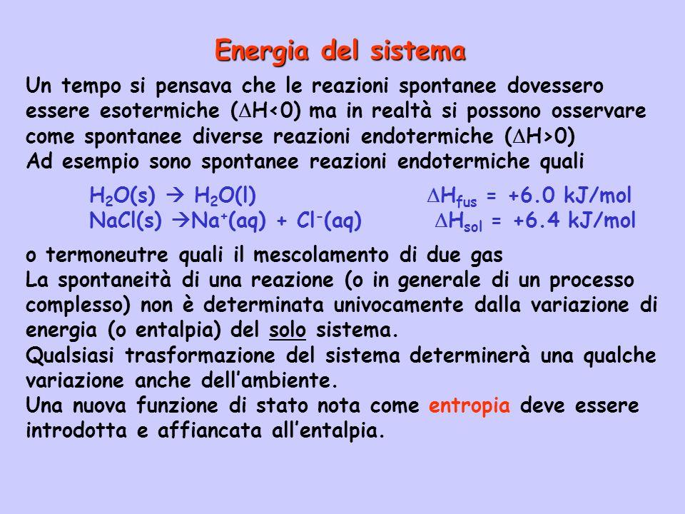 Un tempo si pensava che le reazioni spontanee dovessero essere esotermiche ( H 0) Ad esempio sono spontanee reazioni endotermiche quali H 2 O(s) H 2 O