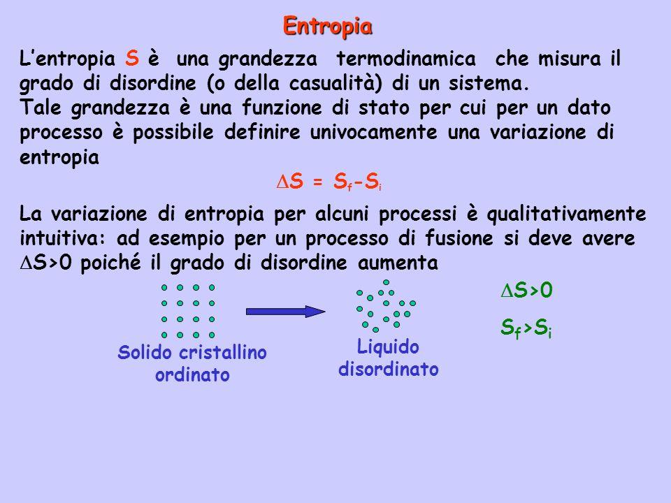 Nellesempio precedente S°>0 cioè lentropia aumenta come prevedibile in base al fatto che da un solido si ottiene un gas che ha un grado di disordine maggiore.