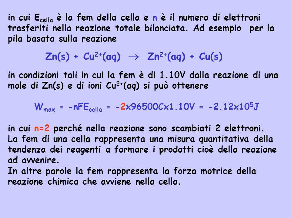 in cui E cella è la fem della cella e n è il numero di elettroni trasferiti nella reazione totale bilanciata. Ad esempio per la pila basata sulla reaz