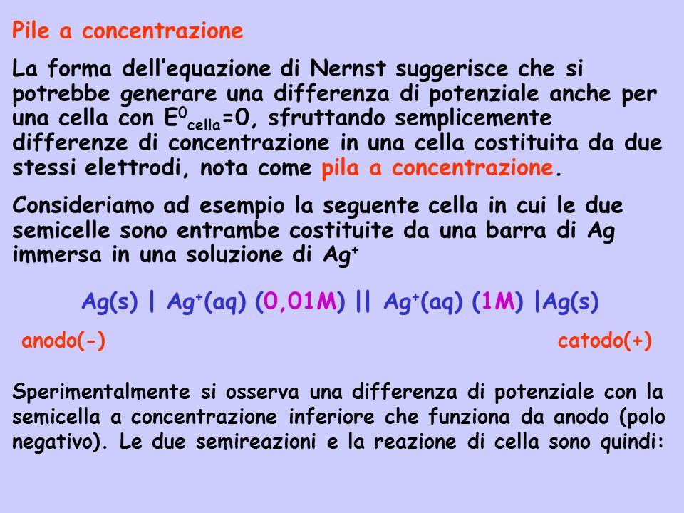 Pile a concentrazione La forma dellequazione di Nernst suggerisce che si potrebbe generare una differenza di potenziale anche per una cella con E 0 ce