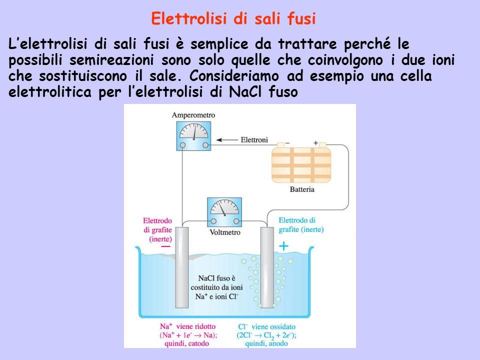 Elettrolisi di sali fusi Lelettrolisi di sali fusi è semplice da trattare perché le possibili semireazioni sono solo quelle che coinvolgono i due ioni