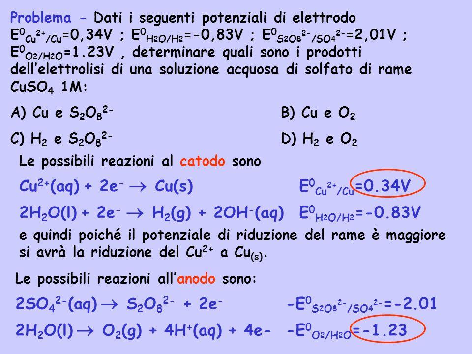 Problema - Dati i seguenti potenziali di elettrodo E 0 Cu 2+ /Cu =0,34V ; E 0 H 2 O/H 2 =-0,83V ; E 0 S 2 O 8 2- /SO 4 2- =2,01V ; E 0 O 2 /H 2 O =1.2