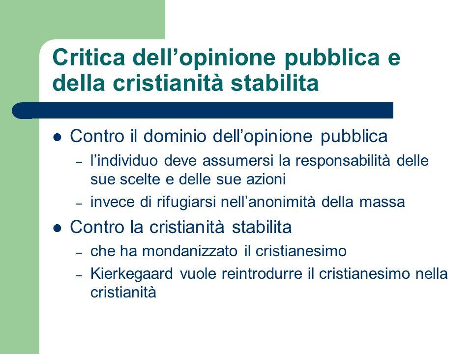 Critica dellopinione pubblica e della cristianità stabilita Contro il dominio dellopinione pubblica – lindividuo deve assumersi la responsabilità dell