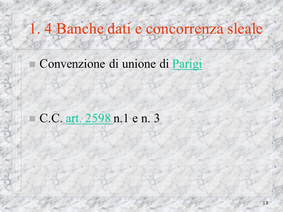 18 1. 4 Banche dati e concorrenza sleale n Convenzione di unione di ParigiParigi n C.C.