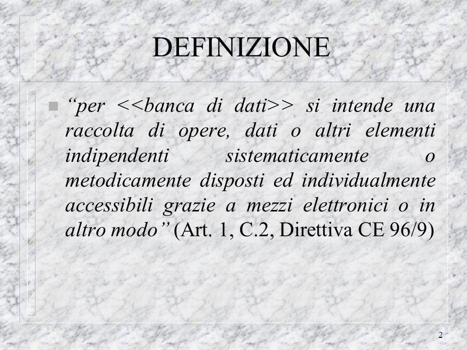 2 DEFINIZIONE n per > si intende una raccolta di opere, dati o altri elementi indipendenti sistematicamente o metodicamente disposti ed individualmente accessibili grazie a mezzi elettronici o in altro modo (Art.