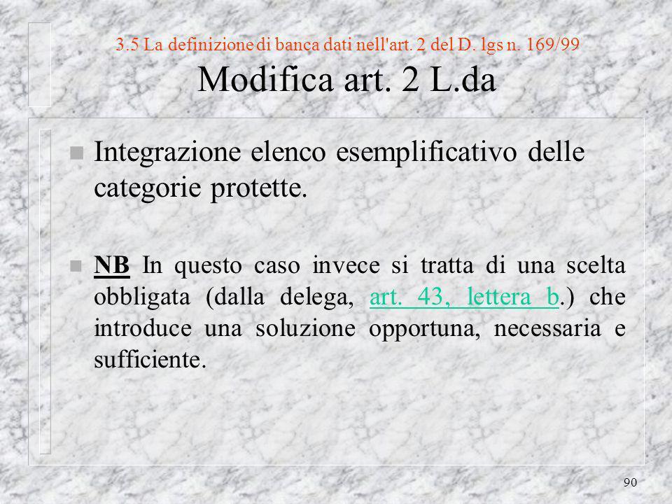 90 3.5 La definizione di banca dati nell art. 2 del D.