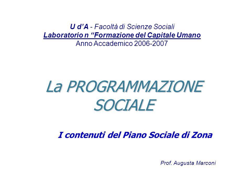 La PROGRAMMAZIONE SOCIALE I contenuti del Piano Sociale di Zona U dA - Facoltà di Scienze Sociali Laboratorio n Formazione del Capitale Umano Anno Acc