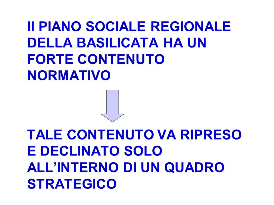 Il PIANO SOCIALE REGIONALE DELLA BASILICATA HA UN FORTE CONTENUTO NORMATIVO TALE CONTENUTO VA RIPRESO E DECLINATO SOLO ALLINTERNO DI UN QUADRO STRATEG