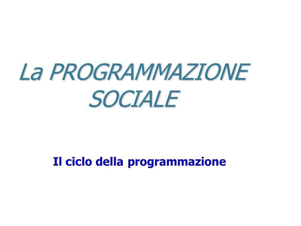 La PROGRAMMAZIONE SOCIALE Il ciclo della programmazione