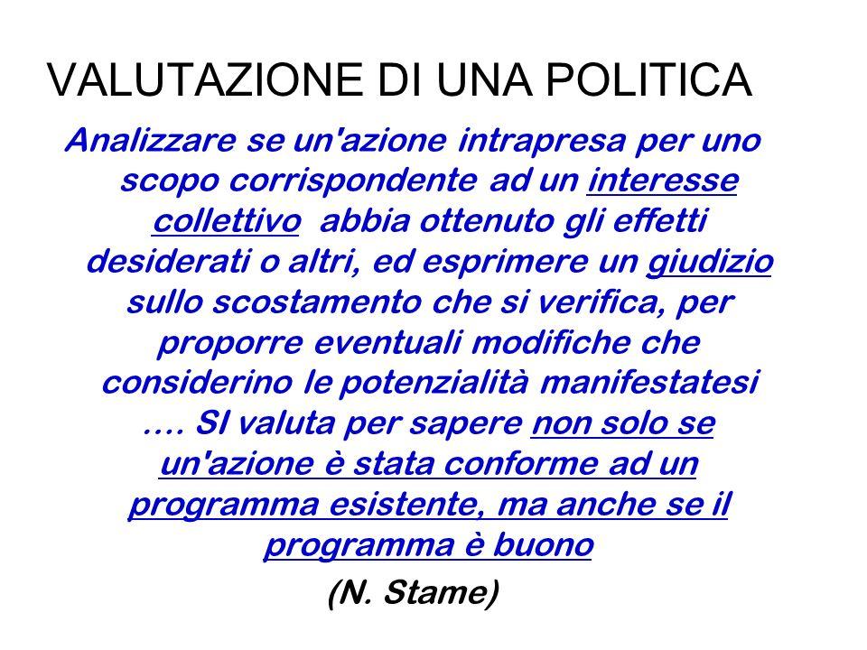 VALUTAZIONE DI UNA POLITICA Analizzare se un'azione intrapresa per uno scopo corrispondente ad un interesse collettivo abbia ottenuto gli effetti desi
