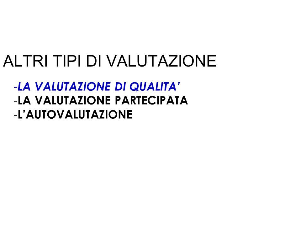 ALTRI TIPI DI VALUTAZIONE - LA VALUTAZIONE DI QUALITA - LA VALUTAZIONE PARTECIPATA - LAUTOVALUTAZIONE
